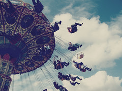 swing life away. (-katelyndee) Tags: sky clouds swings fair swing rides swinger cliche fairride