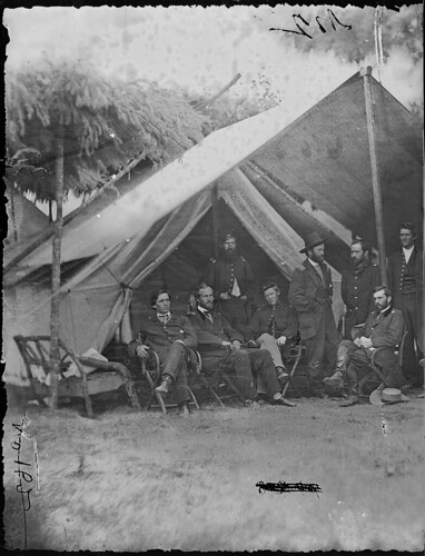 General Ulysses S. Grant and Staff of Eight; Recognized: - Capt. William. Mck. Dunn, Colonel Ely S. Parker, General John A. Rawlins.