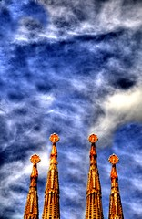 Four Towers (Tony Shertila) Tags: barcelona sky church architecture temple spain europe spires religion towers catalonia christian catalunya arcitecture hdr catalua espania famousbuildings digitalcameraclub artnouveau antonigoudi sagradafamilia templeoftheholyfamily touristattraction modernart