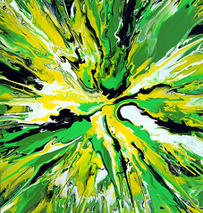 Green & Yellow Abstract Painting (markchadwickart) Tags: camera original white abstract black color colour green art wet water colors yellow contrast dark painting square flow crazy movement artwork nikon colorful warm paint artist acrylic bright mark spin explosion damien vivid move canvas fluid rivers impact oil layers colourful liquid 2009 depth explode materials explosive chadwick stretcher hirst d80