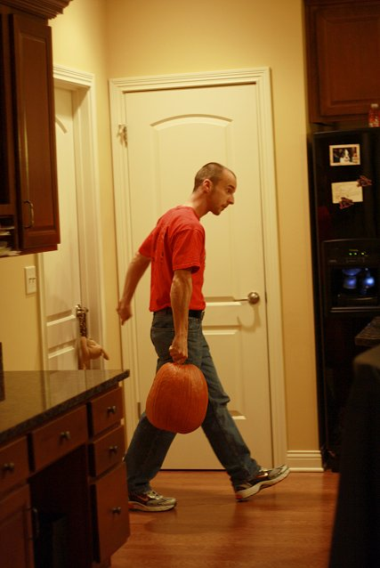 josh getting the pumpkins