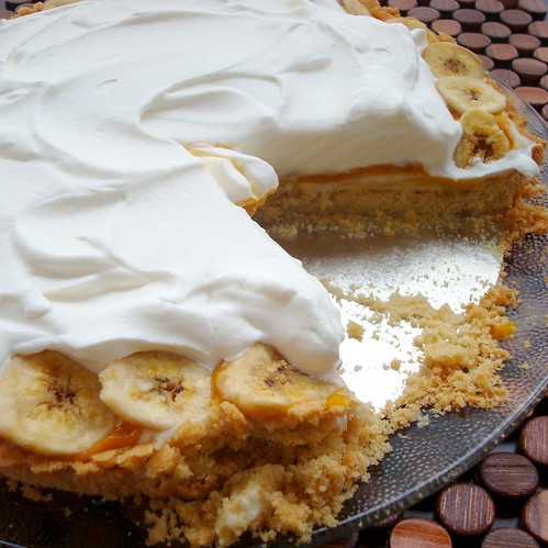 Pumpkin Banana Mousse Tart with homemade brandy whipped cream