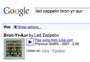 Google Music Results