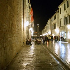 dubrovnik. old city 1 (kexi) Tags: street old city people reflection night dark square lights evening nikon october flag perspective croatia coolpix pedestrians 2009 dubrovnik oldcity dalmatia instantfave thebestofday hccity