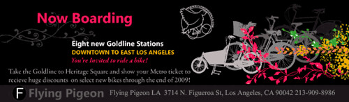 Gold Line inspired flyer for Flying Pigeon LA sale.