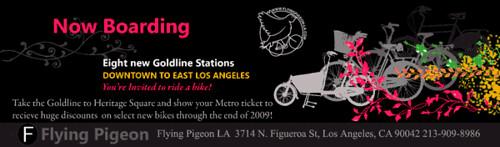 Gold Line inspired flyer for Flying Pigeon LA sale.