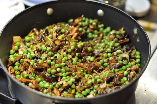 Bulgur with Peas and Mint, Leeks, Prunes, Walnuts and Orange Peel
