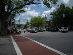 Main Street at South 4th Street - Highlands, North Carolina, USA (olympusjgreen) Tags: street mountains shopping restaurant nc highlands cafe inn mainstreet village getaway restaurants northcarolina sidewalk evergreen shops carolina dining bb crosswalk spa wnc oldedwardsinn