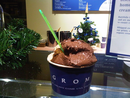 Grom Gelato - 1/2 tiramasu, 1/2 dark chocolate