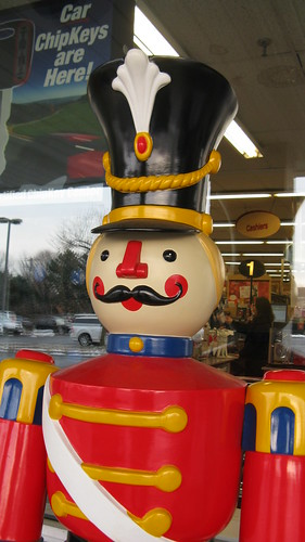 Not a strore security guard, but rather a festive holiday display. Weiss Ace Hardware. Glenview Illinois. December 2009.