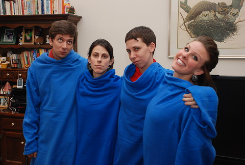 this is how the Snuggies make us feel (somehow, Kass is glamming it up as usual)
