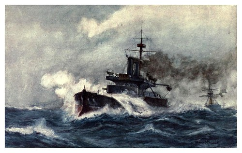011-El primer acorazdo de acero con torreta HMS Thunderer 1877-The Royal Navy (1907)- Norman L. Wilkinson