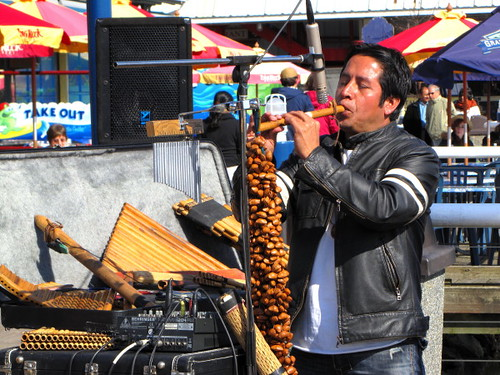 Peruvian music being played at Steveston Fisherman's Wharf