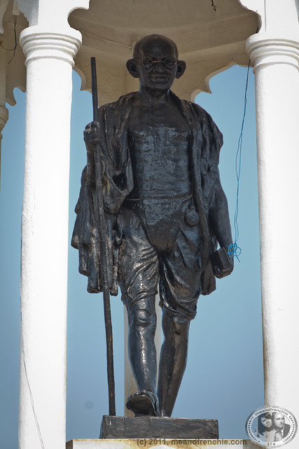 Large Ghandi At The Shores Of Puducherry
