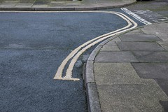 Double Ender (John Pettigrew) Tags: lines tamron d750 nikon banal mundane double abstract kerb tarmac 2470mm yellow pavement white