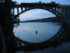 Intercity Bridge (Mr Flikker) Tags: sunset reflection water minnesota evening construction minneapolis mississippiriver twincities lockdam1