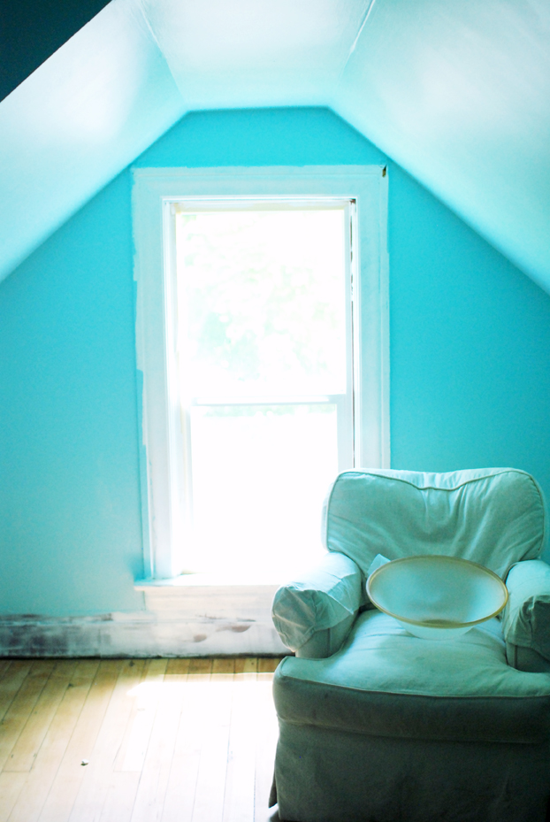 blue beach attic room