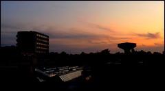Goodnight (Kirsten M Lentoft) Tags: windows sunset sky reflection night hospital denmark watertower roofs glostrup worldbest theunforgettablepictures kirstenmlentoft