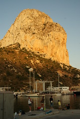 People fishing in Calpe (Georgehopkins) Tags: sea sky mountain rock de volcano spain limestone volcanic calpe ifach penondeifach calp penon pen penyal difach