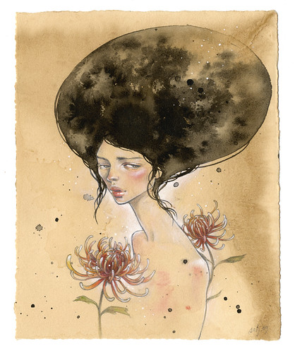 "Silent Bloom. 7.25"" x 9.125"". Mixed Media (Ink, Graphite, Colored Pencil, Acrylic & Watercolor) on Tea-stained Paper. ©2009."
