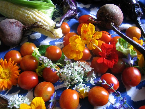 vegetable box with edible flowers