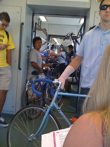 bikes on light rail ( single car train )