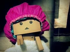 Hey, no pictures in here! (willycoolpics.) Tags: pink shower robot action cardboard cap figure oops picnik nopictures inhere danbo revoltech danboard