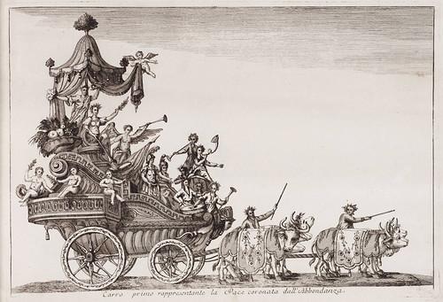 001 Primera carroza representando la Paz coronada por la abundancia-Currus triumphales ad adventum clarissimorum Moschoviae 1782