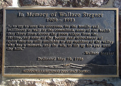 In Memory of Wallace Stegner Bench Plaque