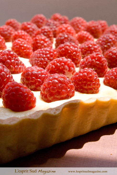 Raspberries and lemon pie