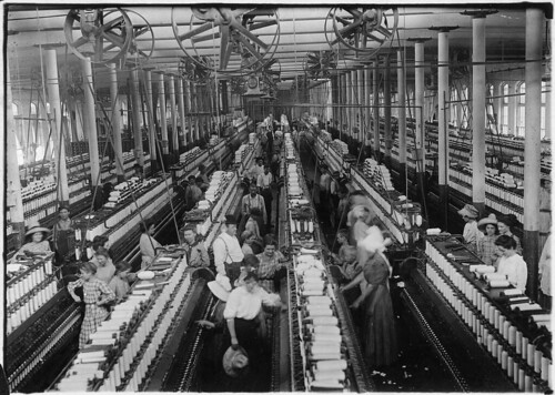 Interior of Magnolia Cotton Mills Spinning Room. See the Little Ones Scattered through the Mill. All Work. Magnolia, Miss., 05/03/1911