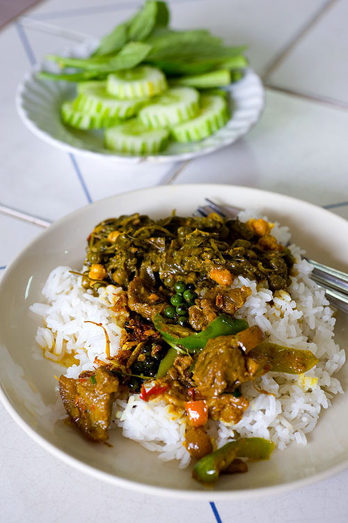 Phat phet muu, spicy pork stir-fry, and kaeng khi lek, bitter leaf curry, at Khao Noi, a curry restaurant in Songkhla, Thailand