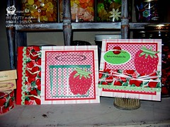 Strawberry Luv (tHE cRAFTY mAMA) Tags: pink red green silhouette strawberry buttons strawberries stamping ribbon recycle heroarts rubberstamps reuse repurpose vintageribbon craftymama diecuts quickutssilhouette