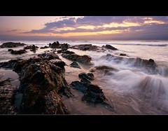 Wells Beach Sunrise (moe chen) Tags: ocean sea motion beach clouds sunrise dawn sand rocks waves maine sigma wells moe 1020mm chen moe76