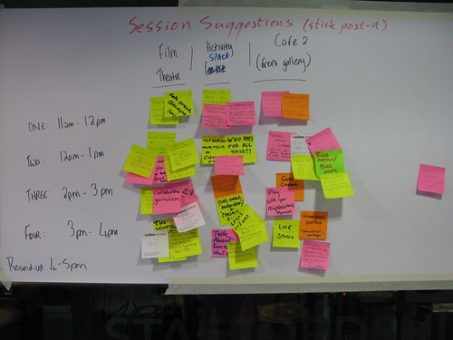 Post-it notes on the board with the days sessions on