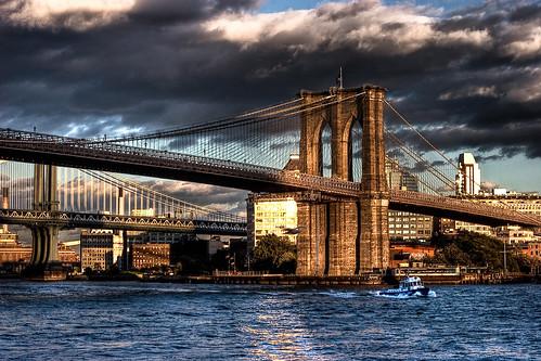 フリー画像| 人工風景| 建造物/建築物| 橋の風景| ブルックリン橋| HDR画像| アメリカ風景| ニューヨーク|    フリー素材|