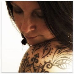 Me and My Ink :-) (Samantha Nicol Art Photography) Tags: portrait woman black flower me earings tattoo ink self square lotus samantha shoulder paisley nicol nosestud