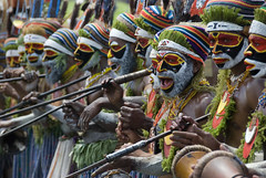 Group of warriors from Mt Hagen, participating in the sing sing of Mt Hagen, PNG.