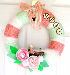 Petals, Mint and Milk Yarn Wreath (KnockKnocking) Tags: pink flower green bird glass rose nest handmade felt yarn wreath ribbon