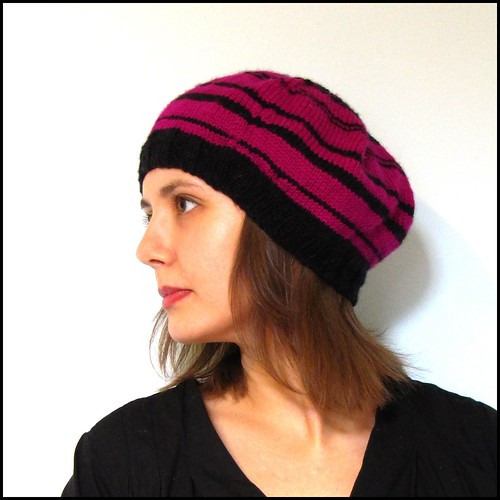 stripy beret in pink and black