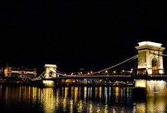 Szchenyi Chain Bridge Budapest (jackfre2 (on a trip-voyage-reis-reise)) Tags: city bridge light water night reflections liberty chains hungary symbol budapest arches danube buda castlehill pest donau fourseasonshotel szchenyi