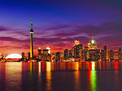 Skyline (tianxiaozhang) Tags: city blue sunset toronto skyline night cntower explore lakeontario centreisland clich rogerscenter eos450d efs1855is