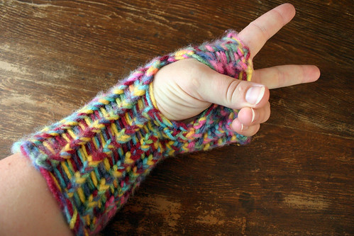 Completed arm warmer on my hand.