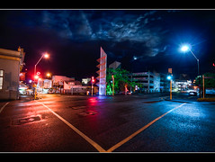 Hot | Cold (Mark Solly (F-StopNinja)) Tags: road lighting street longexposure pink blue sculpture trafficlights wet delete10 night clouds buildings delete9 delete5 delete2 delete6 delete7 save3 wideangle delete8 delete3 delete delete4 save save2 carpark broughamstreet newplymouth sigma1020mm filipetohi halamoana nikond90 deletedbydeletemeuncensored