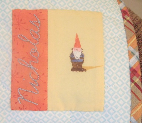 Gnome quilt: Label