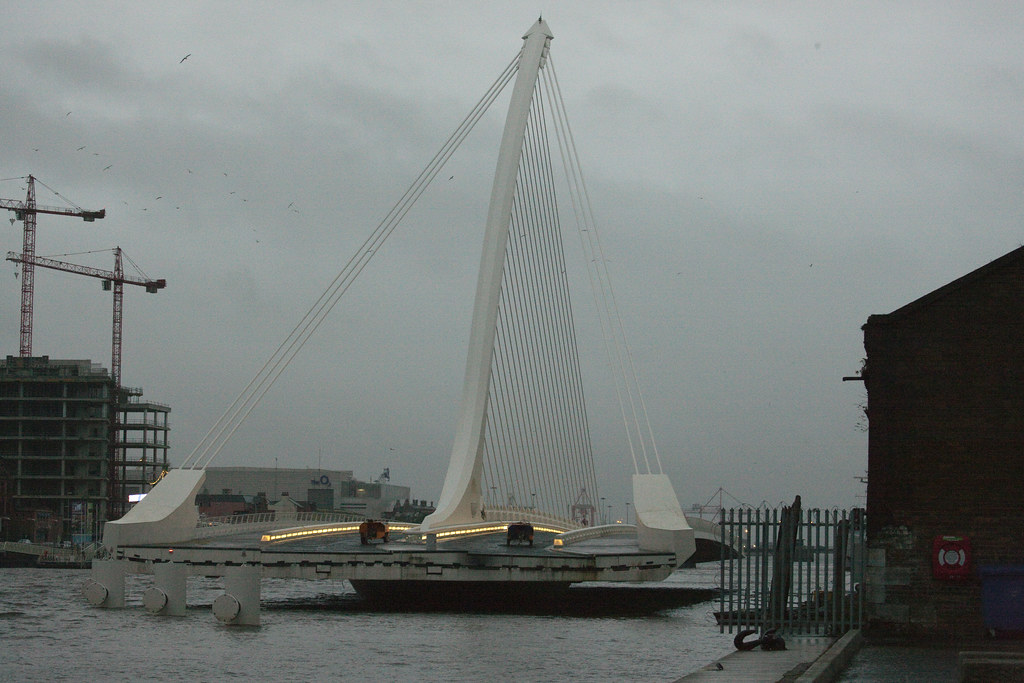 The Samuel Beckett Bridge In Its Open Position