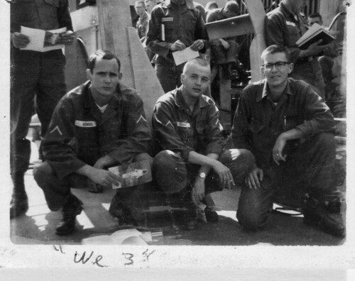 Roger Vensel, Jim Grubbs and Garry Ferguson after attending Mass on the USNS Gordon while headed for Vietnam, May, 1966 by Garry Ferguson by 7th Surgical Hospital (MA)  Vietnam
