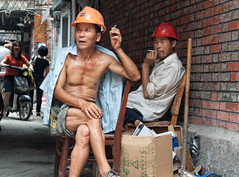 Safety first (Adamina Lisiecka) Tags: china street people men cool workers break shanghai body safety aged uncool halfnaked frenchconcession cool2 cool3 cool4 uncool2 uncool3 uncool4 uncool5 uncool6 uncool7