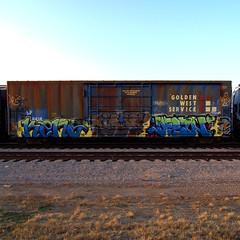 KENO  KLARO  DESTN (TRUE 2 DEATH) Tags: railroad art train de graffiti tag graf pop railcar destn spraypaint boxcar dtm railways railfan freight 626 rollingstock keno klaro goldenwestservice benching freighttraingraffiti