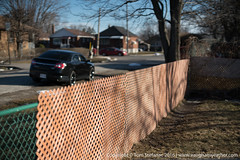 Fence in focus (Vaughan Weather) Tags: manual 55mm sunny f12 lens etobicoke fotodiox raw iso100 sony canon vintage fd a7rii